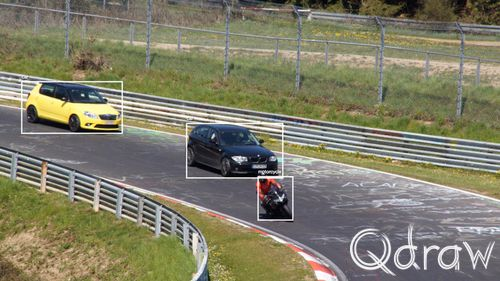 Train een tensorflow gezicht object detectie model MS COCO Tensorflow Nürburgring example (own picture); Car, motorcycle, box, common objects in context